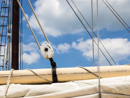 furled: Sailboat Rigging Showing Boom, Sail and Block and Tackle