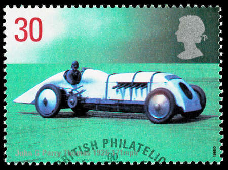 postage stamp: UNITED KINGDOM - CIRCA 1998: Used postage stamp printed in Britain celebrating British Land Speed Records showing John Parry Thomas 1926 Babs Car
