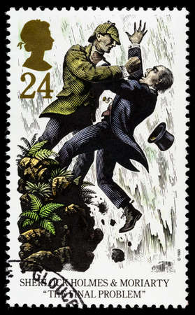 franked: UNITED KINGDOM - CIRCA 1993: A used postage stamp printed in Britain celebrating Sherlock Holmes showing the Novel The Final Problem