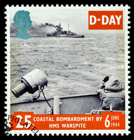 commemorating: UNITED KINGDOM - CIRCA 1994: used postage stamp printed in Britain commemorating the 50th Anniversary of the D-Day Landings in German Occupied France in 1994