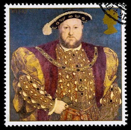 timbre postal: REINO UNIDO - CIRCA 1997: sello impreso utilizado en Gran Bretaña conmemora el 8 de rey Enrique