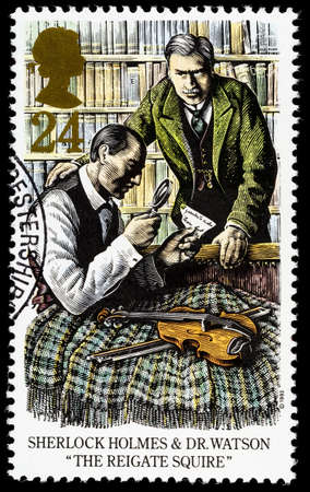sherlock: UNITED KINGDOM - CIRCA 1993: A used postage stamp printed in Britain celebrating Sherlock Holmes showing the Novel The Reigate Squire