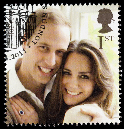 middleton: UNITED KINGDOM - CIRCA 2011: British Used Postage Stamp celebrating the Royal Wedding of Prince William and Kate Middleton on 29th April 2011