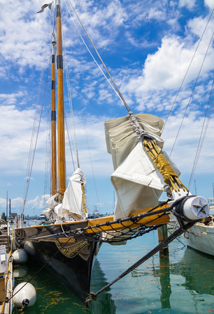 america's cup america: KEY WEST, FLORIDA USA - 2 MAY 2015 - The Sailing Schooner America 2. America 2 is Modelled on the Winner of the First Americas Cup Yacht Race in 1851 and is used for Sightseeing Cruises around Key West Editorial