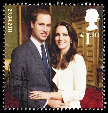 UNITED KINGDOM - CIRCA 2011: British Used Postage Stamp celebrating the Royal Wedding of Prince William and Kate Middleton on 29th April 2011