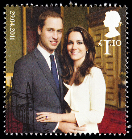 UNITED KINGDOM - CIRCA 2011: British Used Postage Stamp celebrating the Royal Wedding of Prince William and Kate Middleton on 29th April 2011