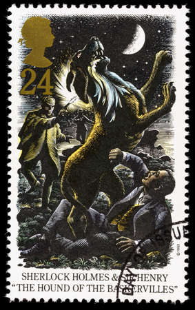UNITED KINGDOM - CIRCA 1993: A used postage stamp printed in Britain celebrating Sherlock Holmes showing the Novel The Hound of the Baskervilles