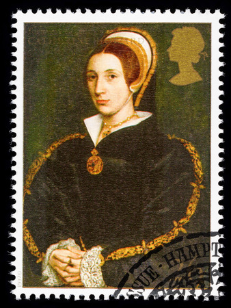 henry: UNITED KINGDOM - CIRCA 1997: used postage stamp printed in Britain commemorating King Henry 8th showing Catherine Howard one of his many Wives
