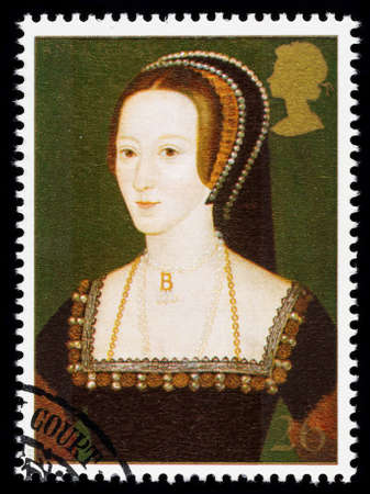 timbre postal: REINO UNIDO - CIRCA 1997: sello impreso utilizado en Gran Bretaña conmemora el 8 de rey Enrique mostrando Ana Bolena una de sus muchas esposas Editorial