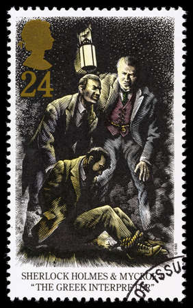 franked: UNITED KINGDOM - CIRCA 1993: A used postage stamp printed in Britain celebrating Sherlock Holmes showing the Novel The Greek Interpreter Editorial