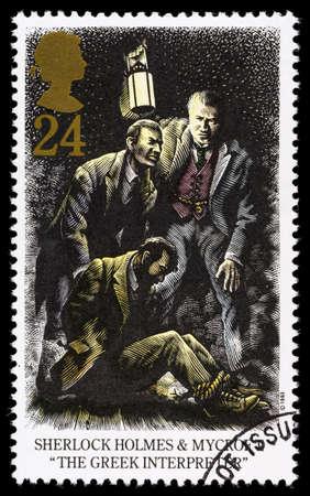 interpreter: UNITED KINGDOM - CIRCA 1993: A used postage stamp printed in Britain celebrating Sherlock Holmes showing the Novel The Greek Interpreter Editorial