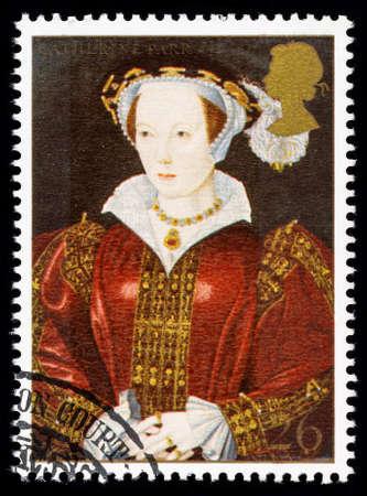 timbre postal: REINO UNIDO - CIRCA 1997: sello impreso utilizado en Gran Bretaña conmemora el 8 de rey Enrique Catalina Parr mostrando una de sus muchas esposas