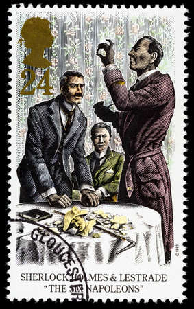 UNITED KINGDOM - CIRCA 1993: A used postage stamp printed in Britain celebrating Sherlock Holmes showing the Novel The Six Napoleons