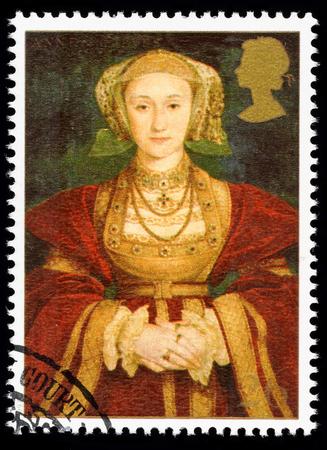 timbre postal: REINO UNIDO - CIRCA 1997: sello impreso utilizado en Gran Bretaña conmemora el 8 de rey Enrique mostrando Anne de Cleves una de sus muchas esposas Editorial