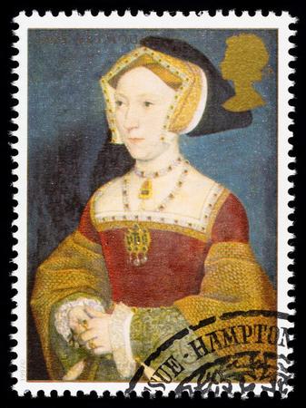 timbre postal: REINO UNIDO - CIRCA 1997: sello impreso utilizado en Gran Bretaña conmemora el 8 de rey Enrique mostrando Jane Seymour una de sus muchas esposas