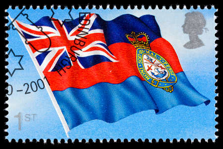 franked: UNITED KINGDOM - CIRCA 2001: A used postage stamp printed in Britain celebrating Flags and Ensigns showing the Flag of the Chief of Defense Staff