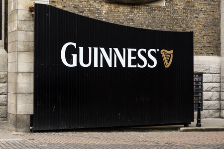 famous industries: DUBLIN, IRELAND - 15 APRIL 2015: Gate to the Guinness Storehouse Brewery Visitor Attraction in the St James Gate Area of Dublin