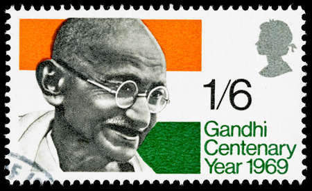 postage stamp: UNITED KINGDOM - CIRCA 1969: A used postage stamp printed in Britain celebrating the Centenary of the Birth of Mahatma Gandhi