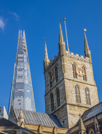 Southwark Cathedral with the Shard Skyscraper Behind, London, Britain