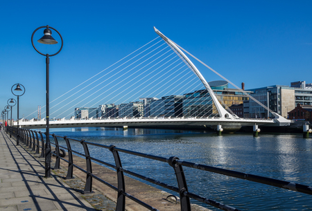 DUBLIN, IRELAND - 14 APRIL 2015: Samuel Beckett Bridge crossing the River Liffey in Dublin, Ireland Editorial