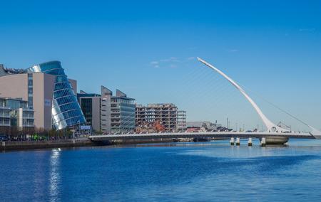 DUBLIN, IRELAND - 14 APRIL 2015: Samuel Beckett Bridge crossing the River Liffey in Dublin, Ireland Sajtókép