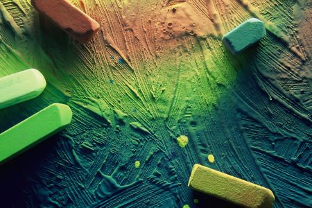 Gesso texture with colored chalk Stock Photo