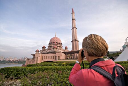 Tourist in Putrajaya Mosque