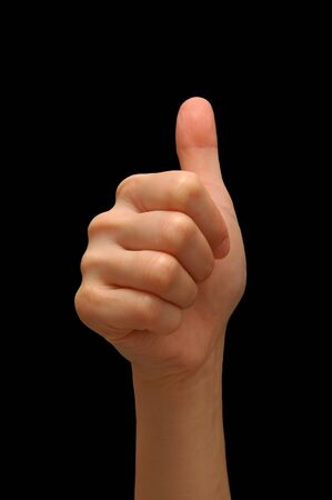 Thumbs up with black background