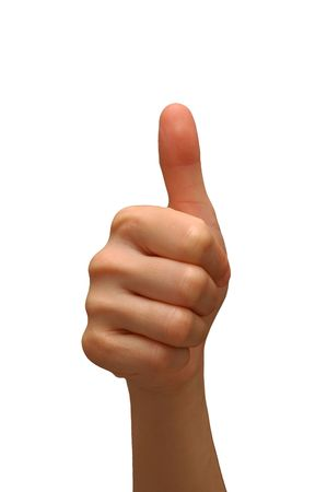 Thumbs up with white background Stock Photo - 8540785