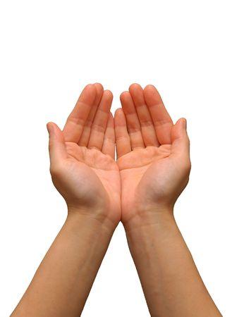 mains: D�ploy�es mains  paumes avec fond blanc