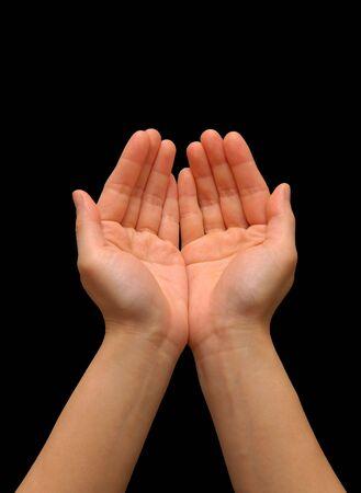 ambos: Extendidos manos  las palmas con fondo negro  Foto de archivo