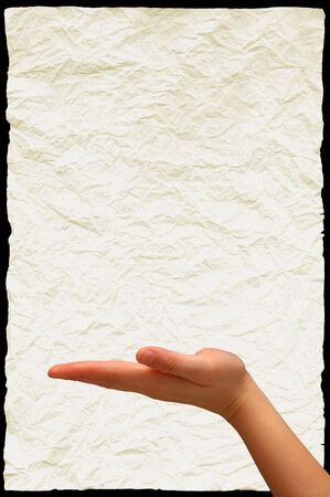 Outstretched hand with wrinkled paper background  Stock Photo