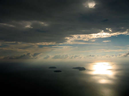Setting sun seen from a plane