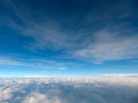 Blue sky seen from a plane Stock Photo
