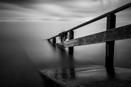 long lake: pier at lake konstanz long time exposure