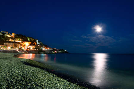 d���azur: Moonlight over the sea, Nice, Cote d Azur, France  French rivera