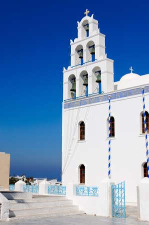 Greek church, Santorini, Greece Imagens