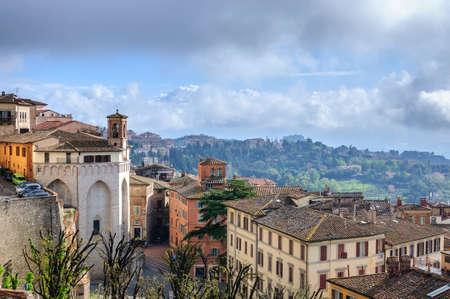 Umbria cloudy landscape, Perugia, Italy Stock Photo