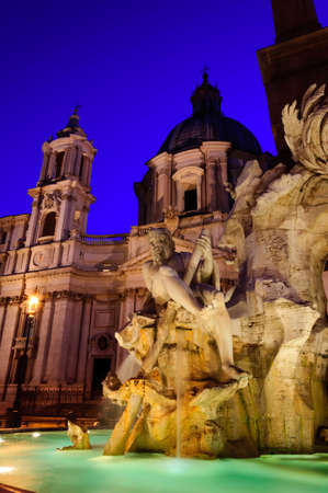Close view details of the fountain of the four Rivers, Piazza Navona, Rome, Italy photo