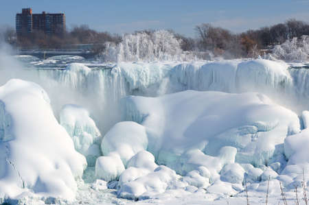 Niagara falls covered with snow and ice