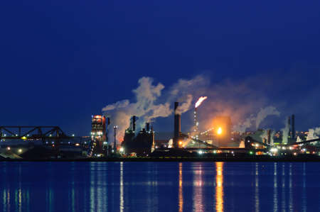 oil pollution: Steel Plant, Hamilton, Ontario, Canada