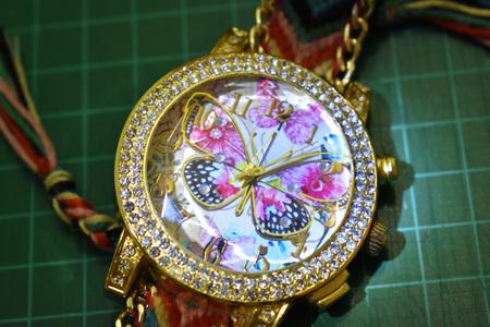 Hand watch butterfly Banco de Imagens