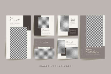 Trendy social media post templates For personal and business accounts with geometric elements Vector illustration