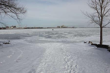 Saint Laurent river in winter  Stok Fotoğraf