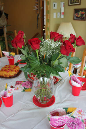 Mothers day roses in a flower vase