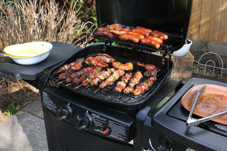 broiled: Broiled meat in the garden Stock Photo