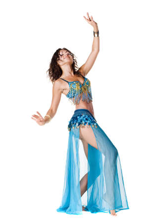 Belly Dancer in a blue stage costume Stock Photo - 7597493