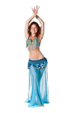 Portrait of belly dancer girl in blue. isolated on white Stock Photo - 7597492