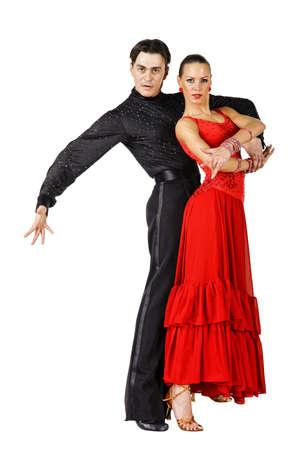 Latino dancers posing. Isolated on white photo