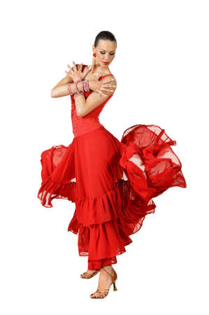 Latino dancer in action. isolated on white photo